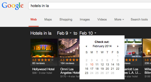 Date Picker On Google Knowledge Graph Carousel Results