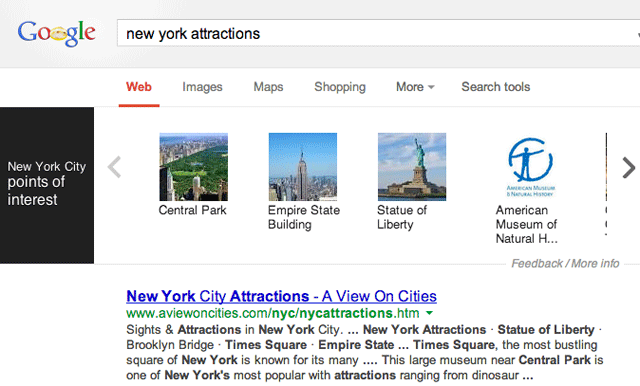 Google Knowledge Graph Attractions