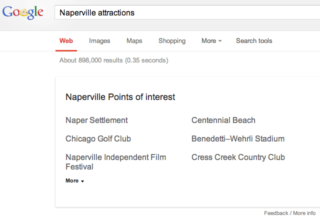 Google Knowledge Graph Attractions text