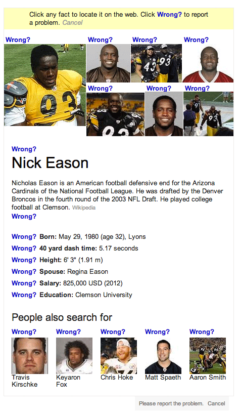 wrong Google knowledge graph