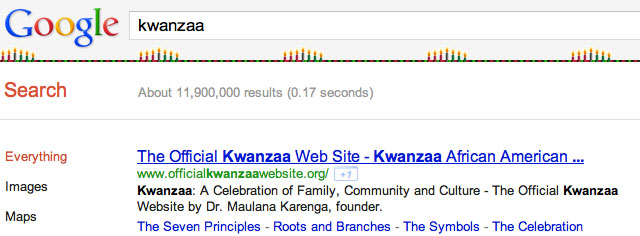 Google's Kwanzaa Decorations