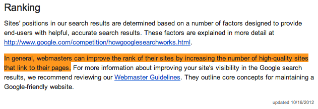 Google high quality links