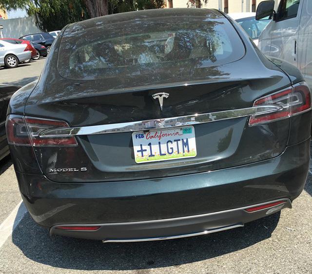 Googlers Tesla License Plate Says +1 LGTM