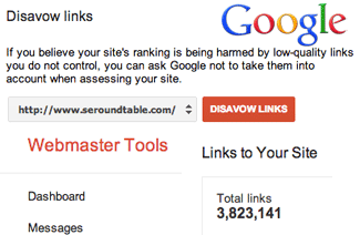 Google Links Disavow Webmaster Tools
