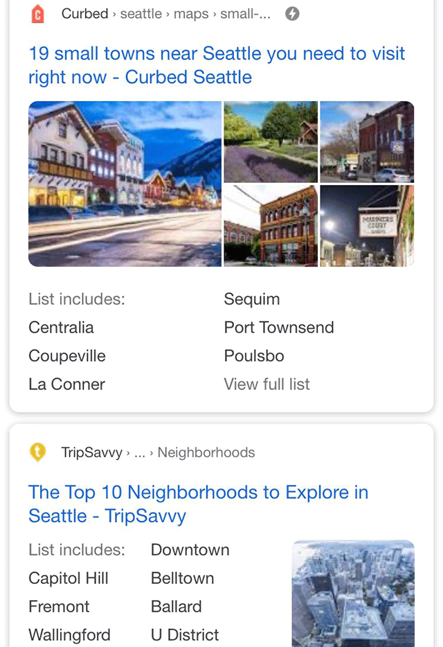 Google Snippet Shows List Includes