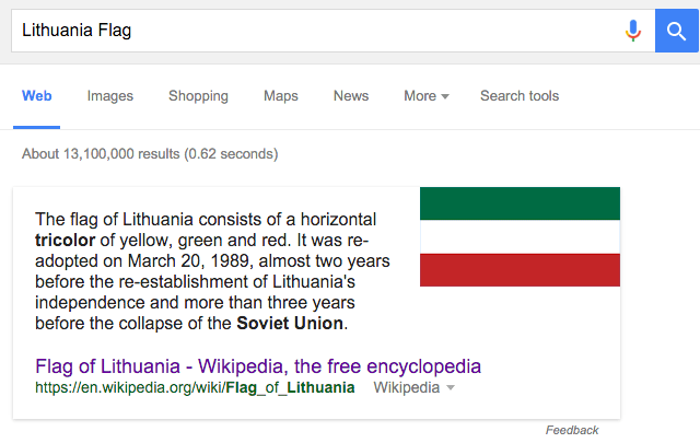 Google Shows Wrong Flag For Search On Lithuanian Flag