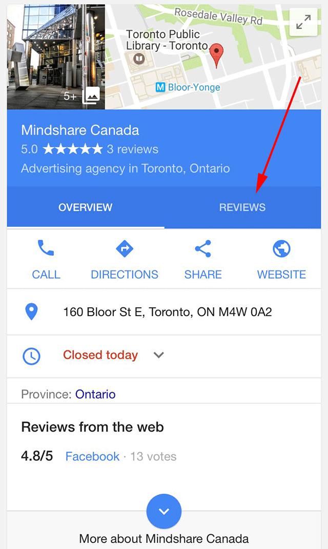 Google Reviews Tab On Local Knowledge Panel