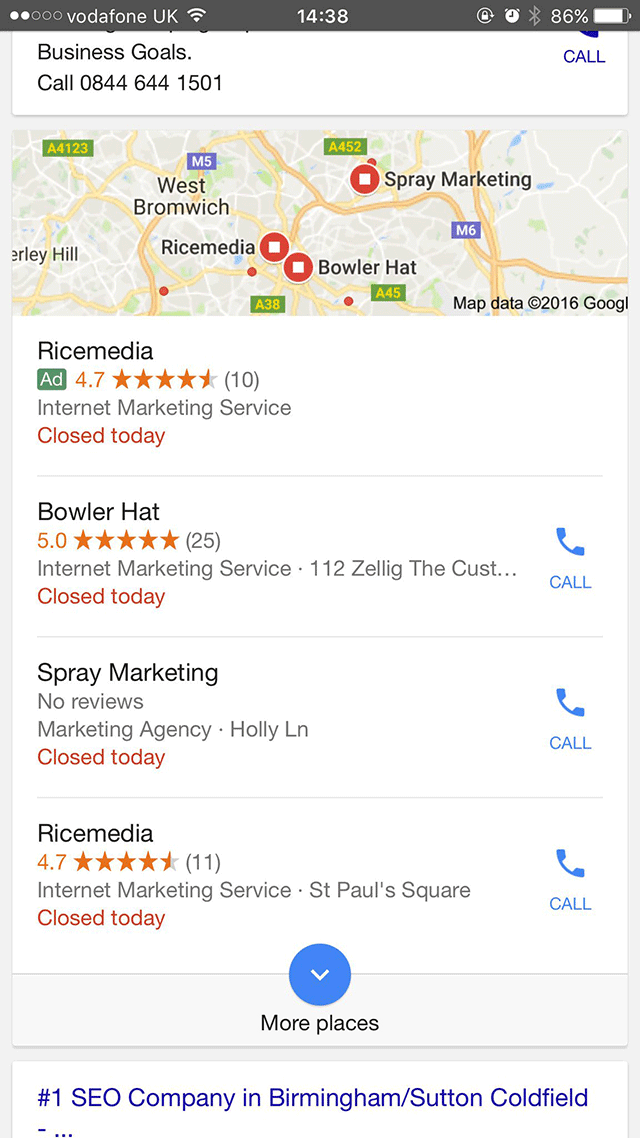 Google Local Pack Ad