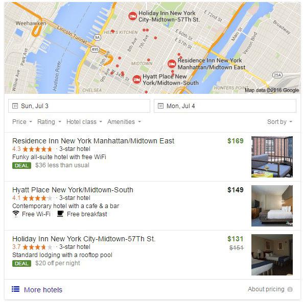 Google тестирует новую рекламную опцию для отелей