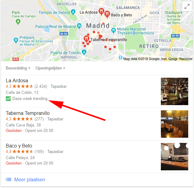 Google Local Pack With Trending Icon