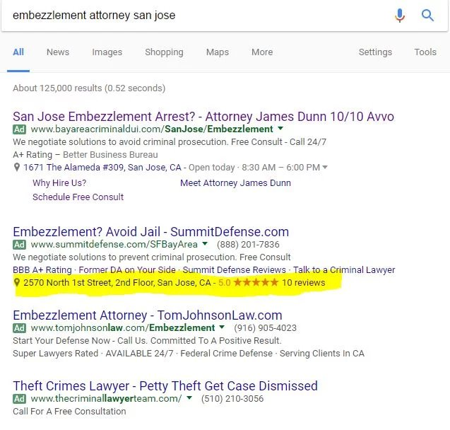 Google AdWords Location Extensions Bringing Back Stars In Ads