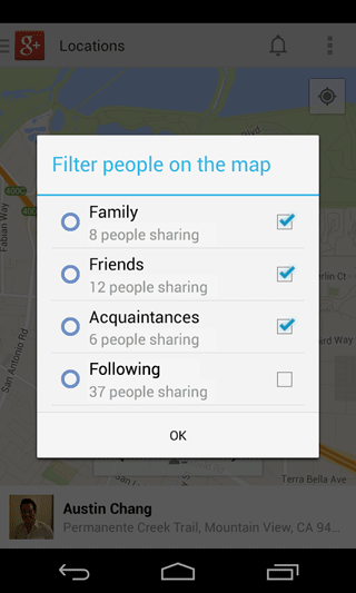 Google Location Sharing via Google Maps Android