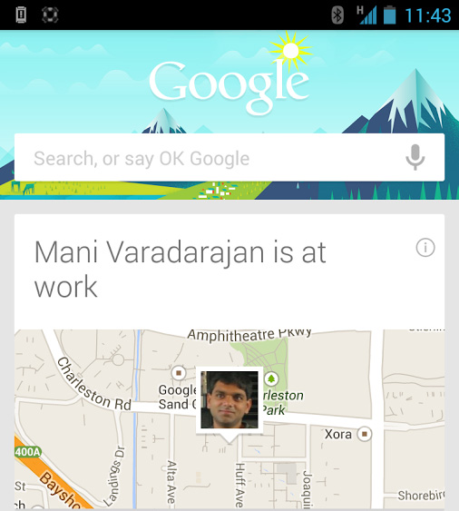 Google+ Locations Google Now