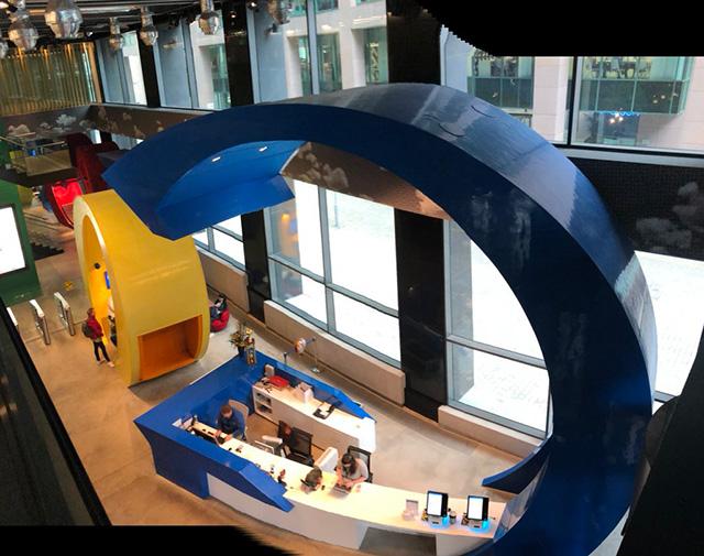 Google Dublin Office With Reception Office Built Into Massive Google Logo