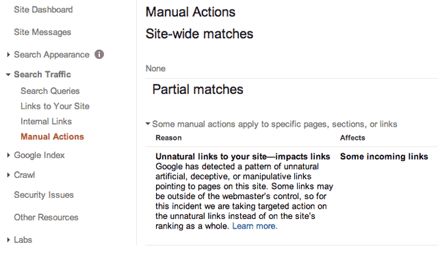 Can't Delete Manual Actions In Google Webmaster Tools