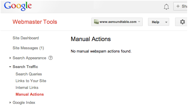 google manual action viewer - none