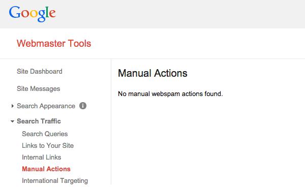 Google Webmaster Tools Manual Actions