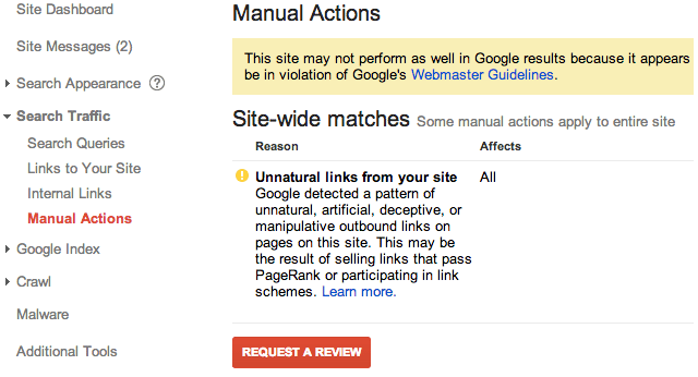 google manual action viewer - linking out badly