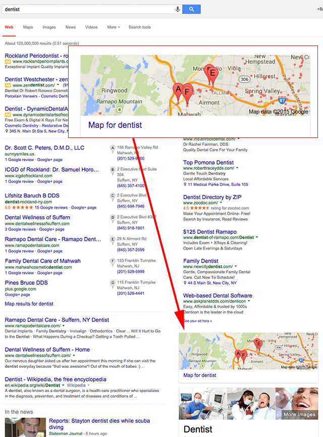 Google Moves The Map & Local Pack Below The Fold