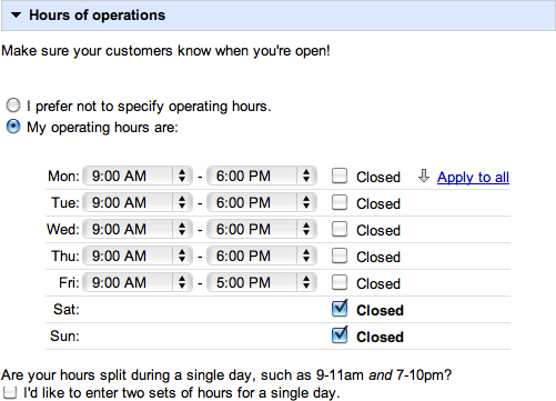 Google Maps Hours of Operations
