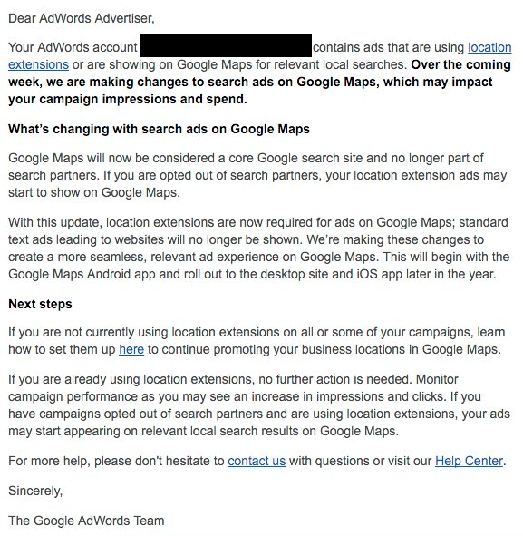 Google Notifies AdWords Advertisers That Google Maps Is