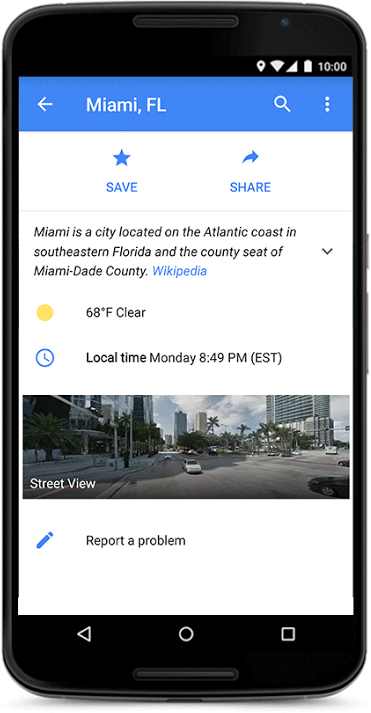 Google Maps Location Search Adds Weather & Facts