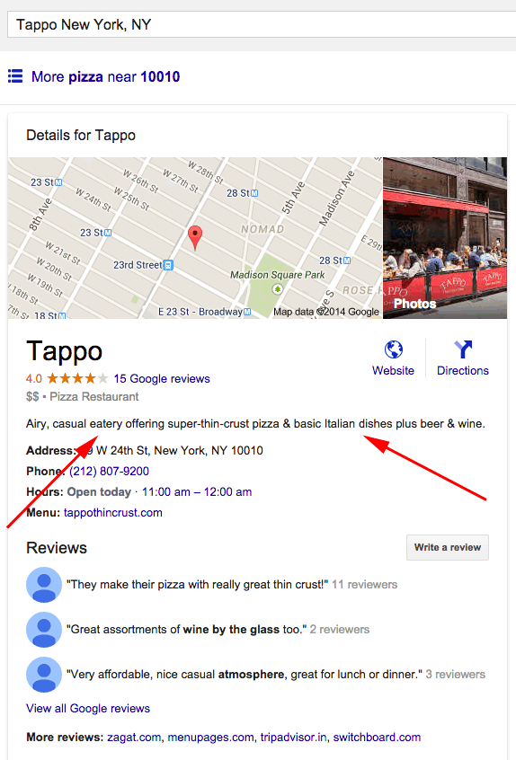 Automated Google Maps Short Business Descriptions