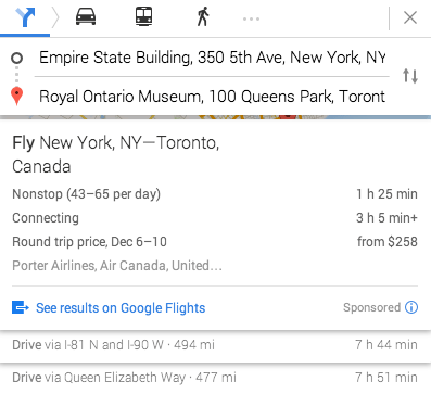 Google Maps With Flight Directions