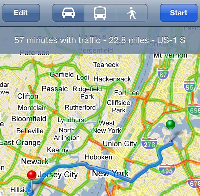 Google Maps Traffic on iPhone