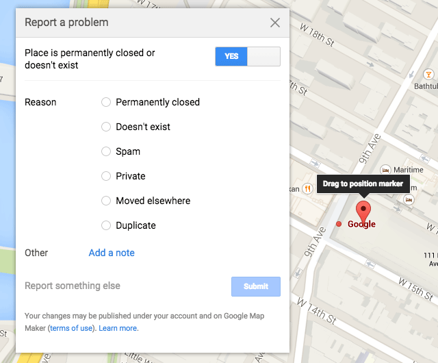 Google Maps New Report Problem