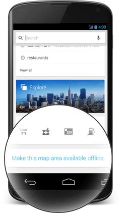 google maps offline button