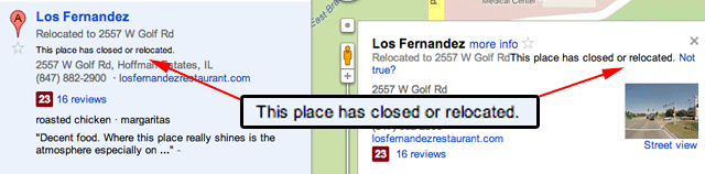 Google Maps Closed or Relocated