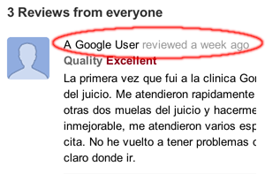 Google Maps Anonymous Reviews