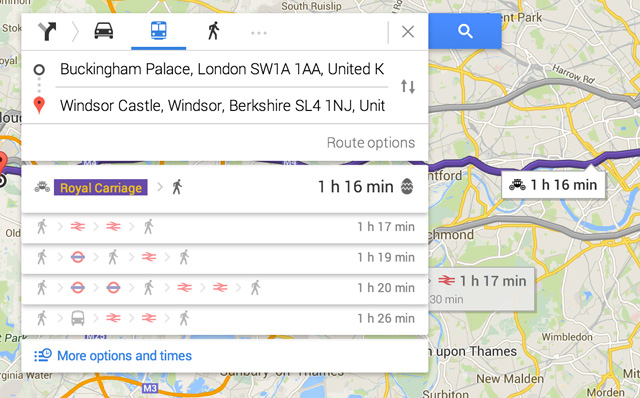 royal carriage transit directions in google maps