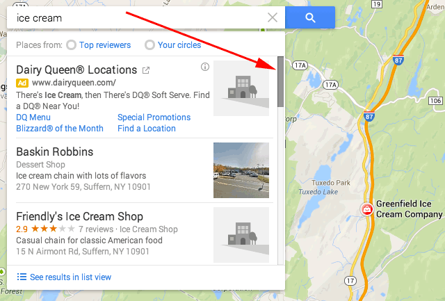 Google Maps Search Adds Scrollable Search Results