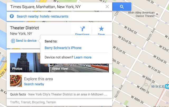 Google Maps Send To iPhone Or Android
