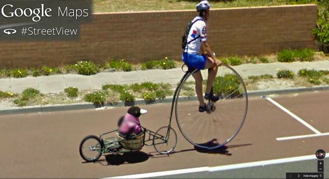 Penguin Biking Captured On Google Maps Street View