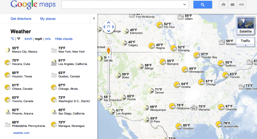Google Maps Adds Weather Data & Forecasts Layer