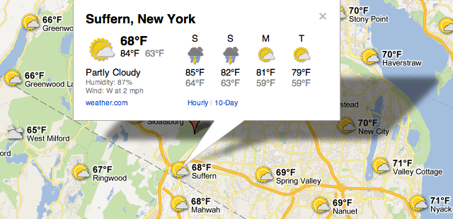 Google MAps Weather Forecast