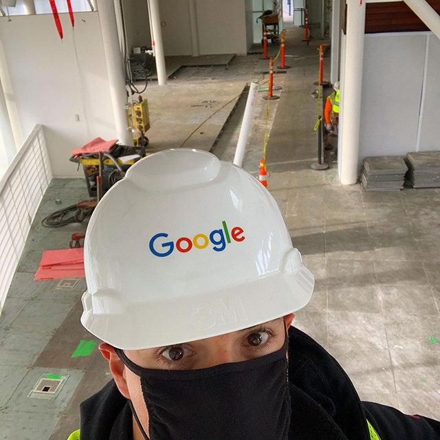 Google Project Manager Back At Work With Mask & Hard Hat