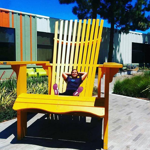 Massive Google Yellow Wood Chair