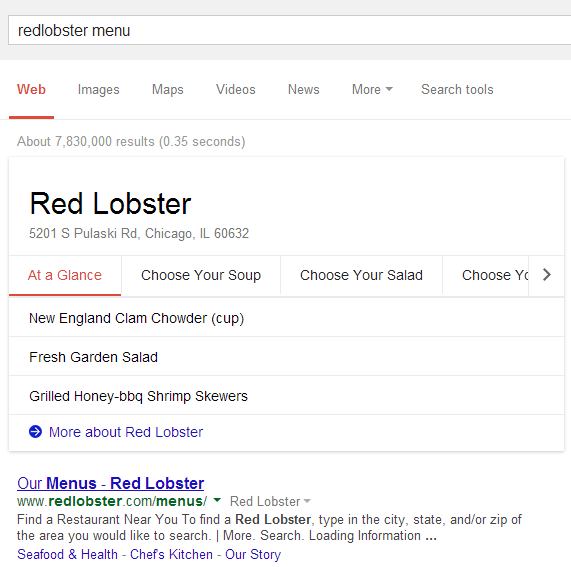 Google Restaurant Menu Knowledge Graph Box