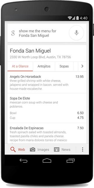 google menus