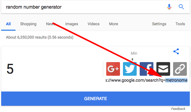 Google Share URL For Random Number Generator Leads To