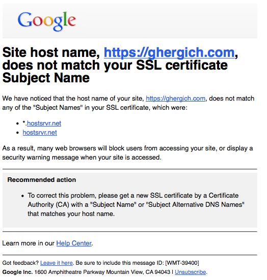 google-mismatch-error