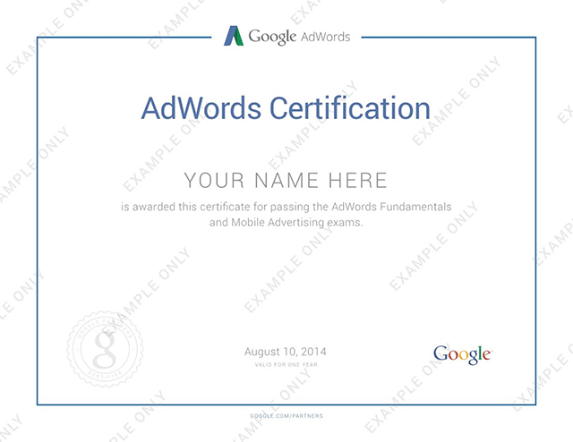 Google AdWords Mobile Advertising Certification