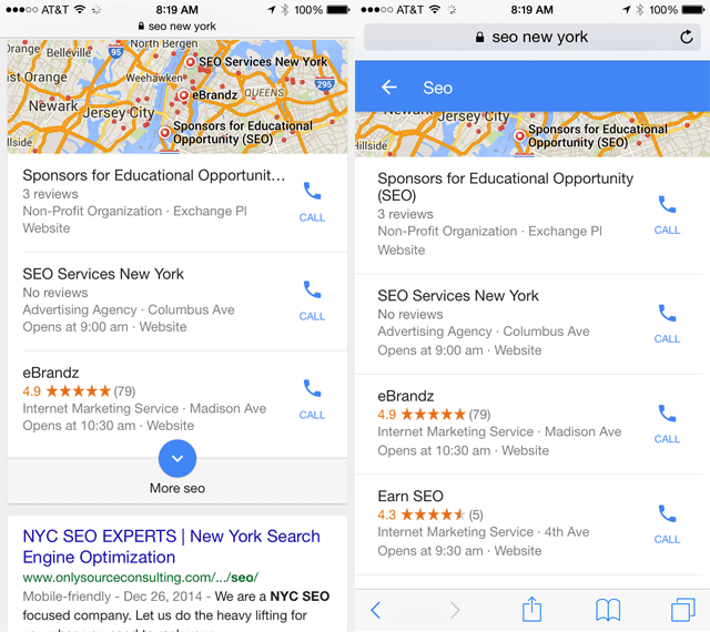 Google Mobile Local Results Expand Link Navigation