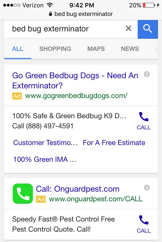 Google AdWords Testing Green Call/Phone Icon Button