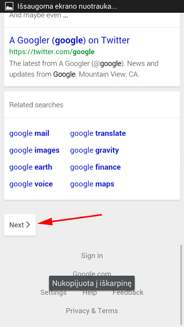 Next Button On Google Mobile Search Results