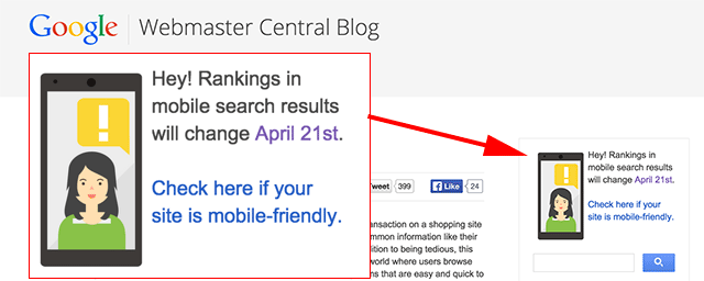 Google Adds Mobile Ranking Banner To Webmaster Blogs